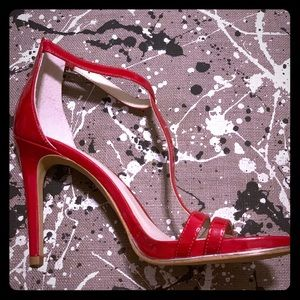 Kenneth Cole Red Patent Leather Ankle Strap Sandal
